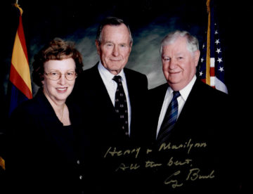 Henry and Marilynn with G.H.W. Bush